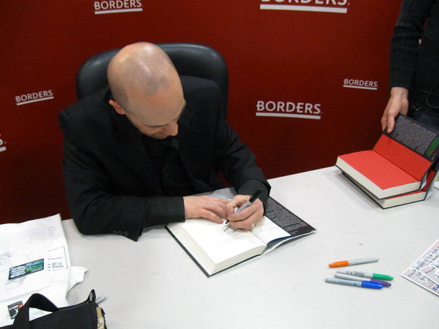 20090120 - Sigler signing my Infected copy... got him to sign my Contagious-es, too