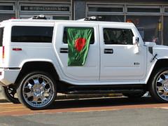 automobile(1.0), automotive exterior(1.0), sport utility vehicle(1.0), vehicle(1.0), hummer h2(1.0), hummer h3t(1.0), bumper(1.0), land vehicle(1.0), luxury vehicle(1.0),