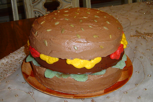 Mikes Hamburger Birthday Cake  Flickr - Photo Sharing!