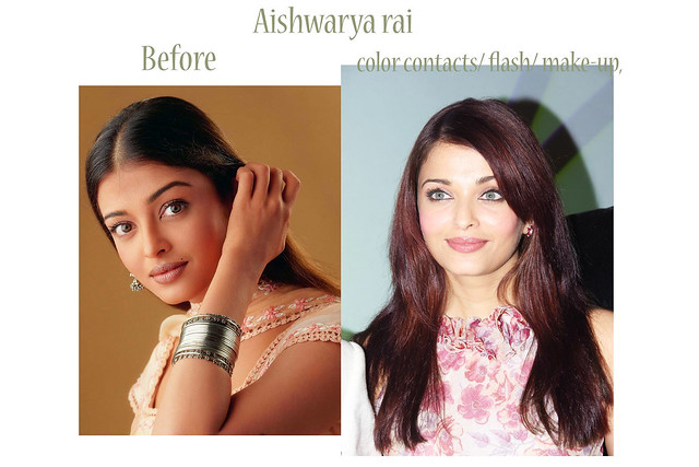 Aishwarya rai ( before and after color contact lenes ...