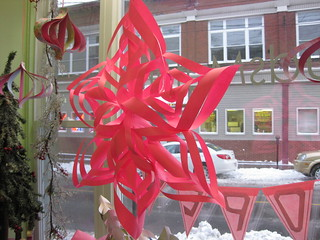 HUGE Pink Paper snowflake in the window