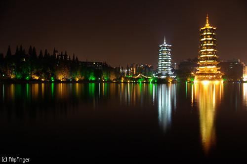China, fotografía de las pagodas de Guilin