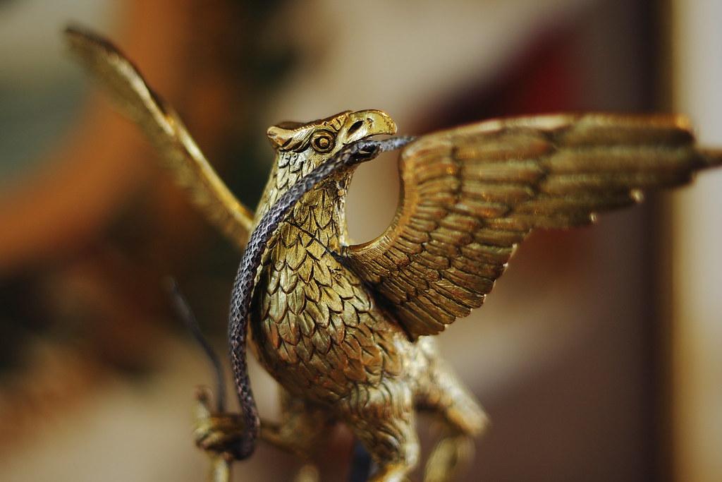 Aguila devorando una serpiente