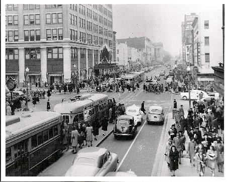 Looking east on F Street NW in the 1940s, Washington, DC