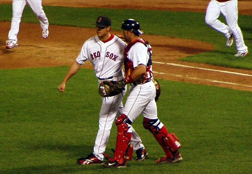 """Every time Jason Varitek pats Papelbon on the head and/or upper back area, I'm pretty sure that God cures the broken leg of a small kitten."""