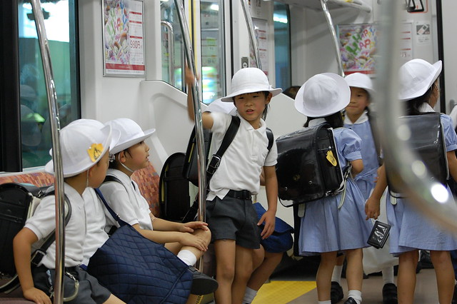 School Children in Japanese Subway