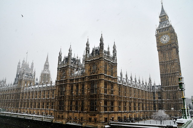 London during winter with snow
