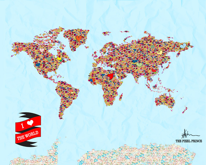 Heart World Map Tumblr I Heart The World Art Print World Flickr