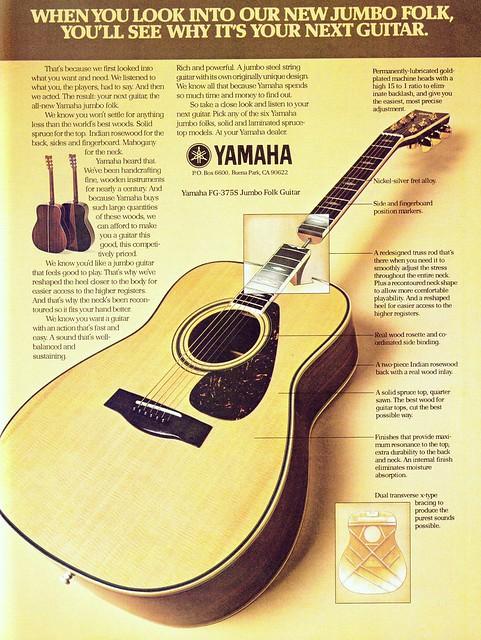 Yamaha FG-375S Folk Guitar Ad - (1977)   Flickr - Photo ...
