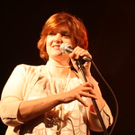 Tue, 02/12/2008 - 9:23pm - Claudia Marshall talks to the crowd at the beginning of 2008's Holiday Cheer for 'FUV Concert  Photo by Jeff Fasano