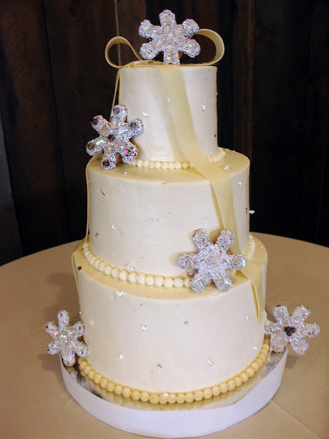 Winter flurries wedding cake Red Velvet cake with cream cheese frosting and