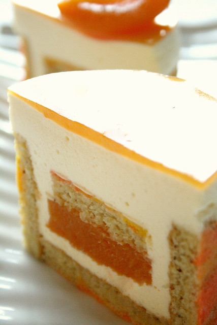 apricot white chocolate mousse cake cake layers pistachio biscuit ...