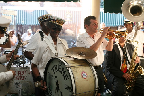 Uncle Lionel Batiste leads the Treme Brass Band in a second line for Fats Domino (Photo by Jef Jaisun)
