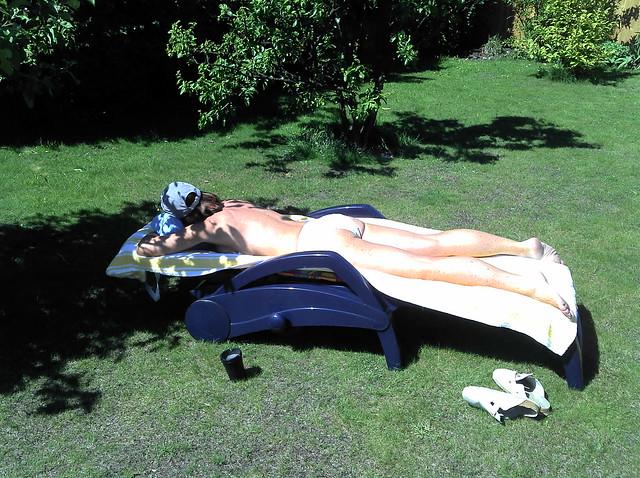 back yard sunbathing Wife