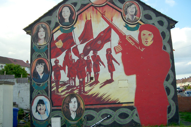 A wall mural in Ireland depicting several local female guerilla fighters including Anne-Marie Pettigrew, a Volunteer of the Belfast Brigade of the (Provisional) Irish Republican Army, killed in 1973