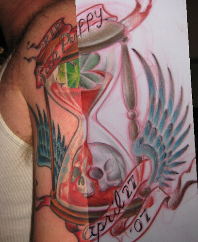 Hourglass drawing on tattoo