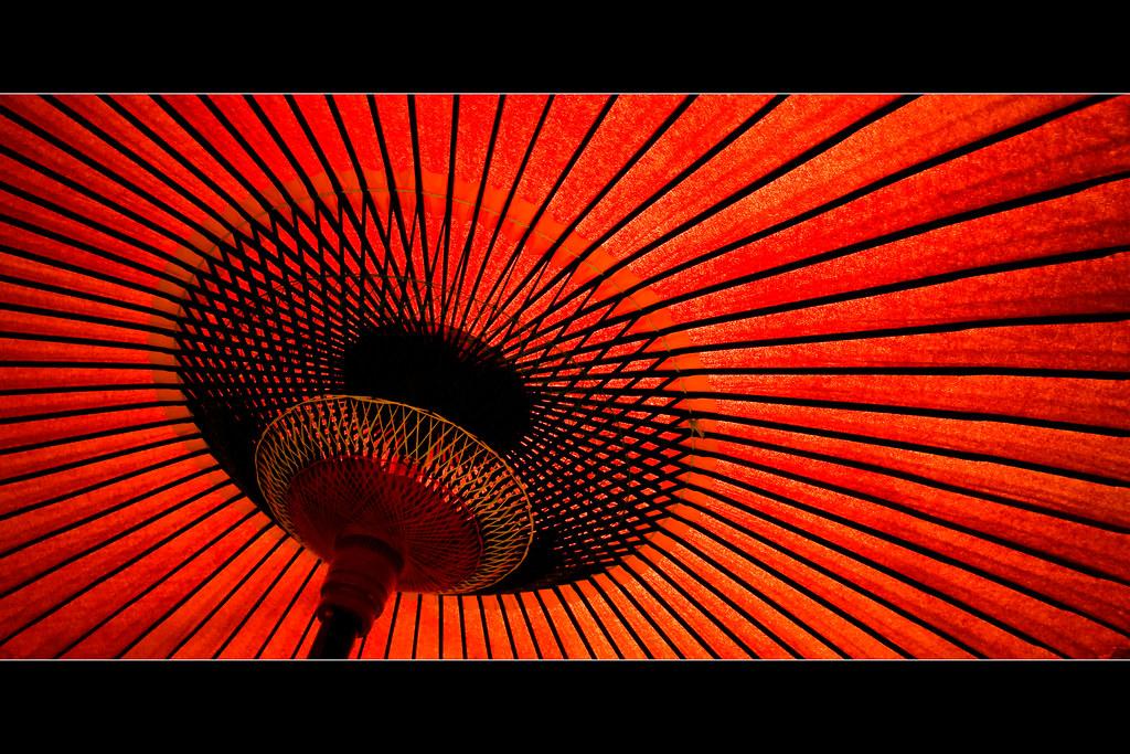 On Black Horizontals Red Parasol By Manganite Large