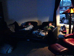 brothers watching finding nemo in the home theatre  …