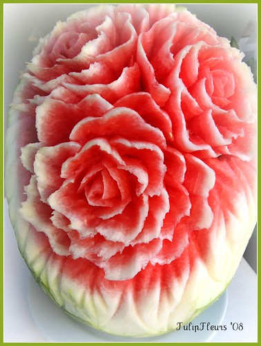 Roses from a Carved Watermelon . . .