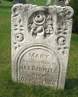 Mary (Shipley) (Fitton) (Young) Burwell wife of James Burwell - buried in 1893 at the Union Cemetery, Yarmouth, Elgin, Ontario, Canada