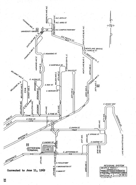 1969 trolleybus wire map for capitol hill  seattle