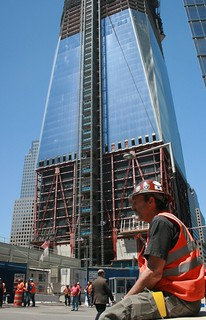 Construction worker takes a break at Freedom Tower