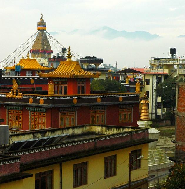 Boudha Stupa From Tharlam Guesthouse Roof, Boudha, Kathmandu, Nepal