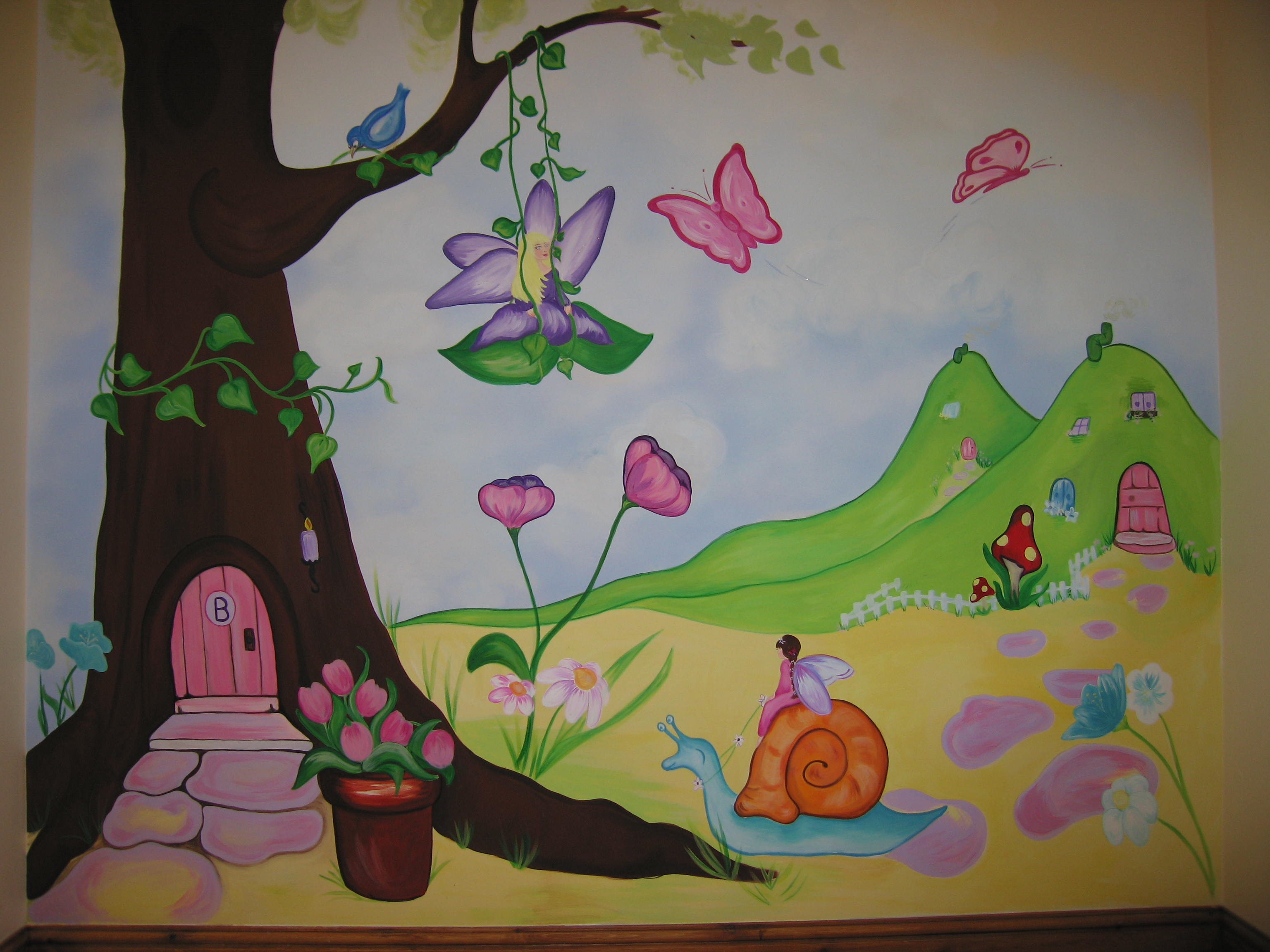 Fairy garden wall mural for Fairy garden wall mural