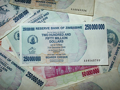 Inflation - Worthless Zimbabwe 250mm bill