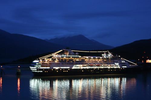 Cruise ships at dusk