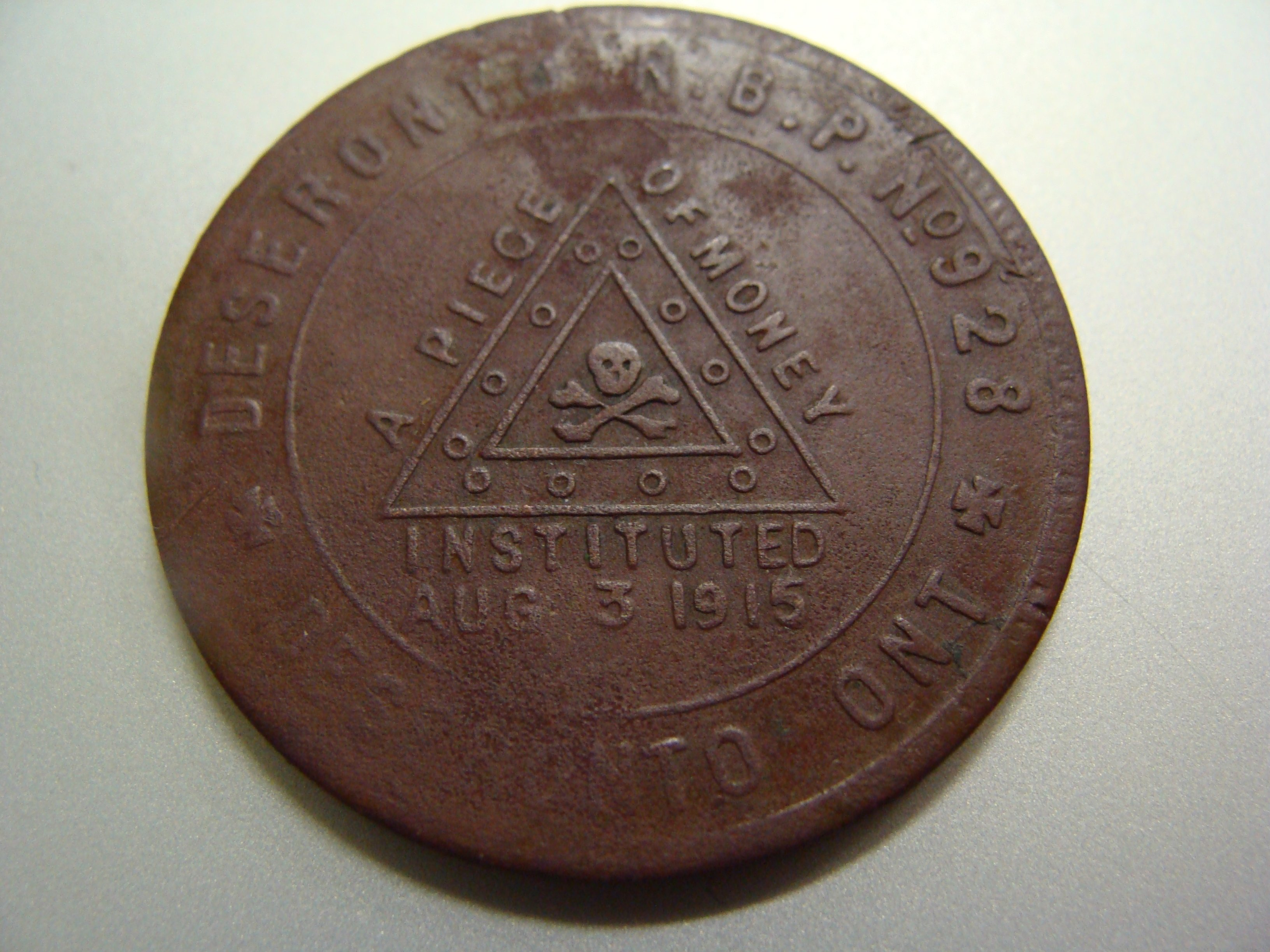 Royal Black Preceptory token (obverse)
