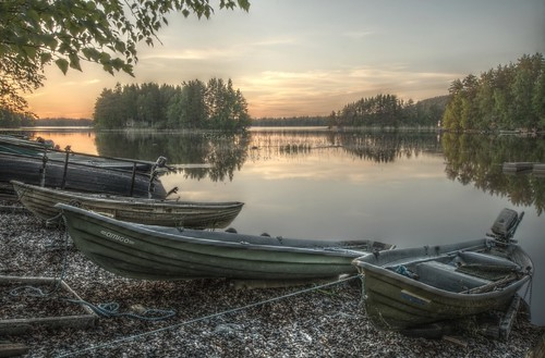 sunset finland landscape boats fi hdr kuopio