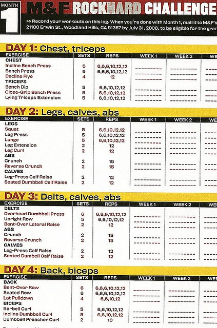 Muscle & Fitness Rock Hard Challenge Training Log 2008 ...