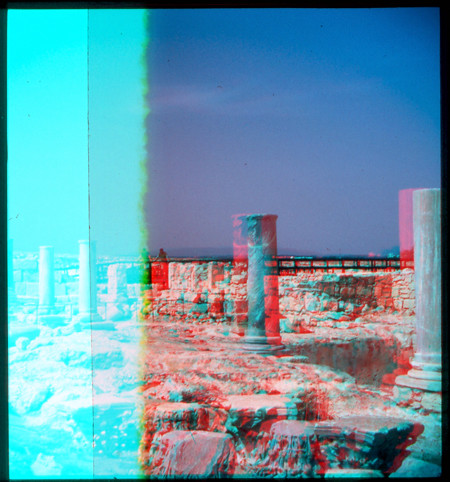 old history film archaeology stone greek 3d ancient roman columns ruin cyprus slide anaglyph scan stereo dust pillars fujichrome 3dglasses kourion wraystereographic