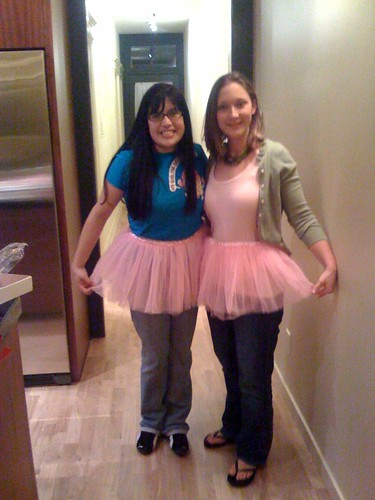 Brittney and Lisey in their new place, with tutus