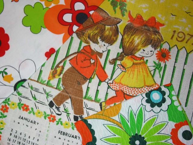 1970's Calendar Towel and Fabrics