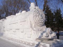Snow steam train, Harbin International Ice and Snow Sculpture Festival