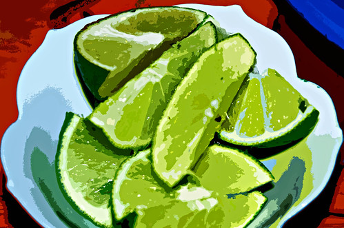 Bowl of Sliced Limes (Cut Out Effect)