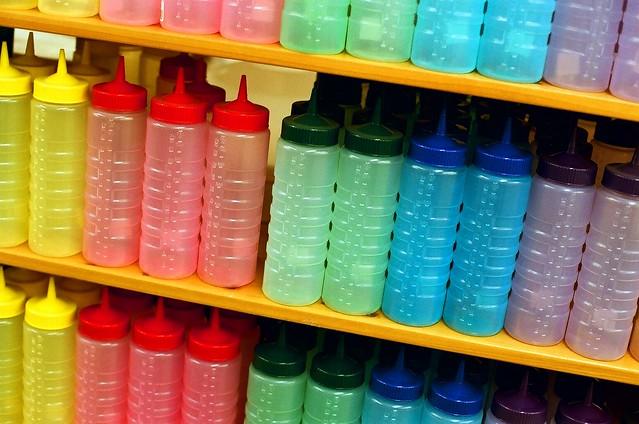 digital lab tools colored plastic bottles