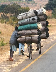 Bicycle charcoal carriers, Zambia