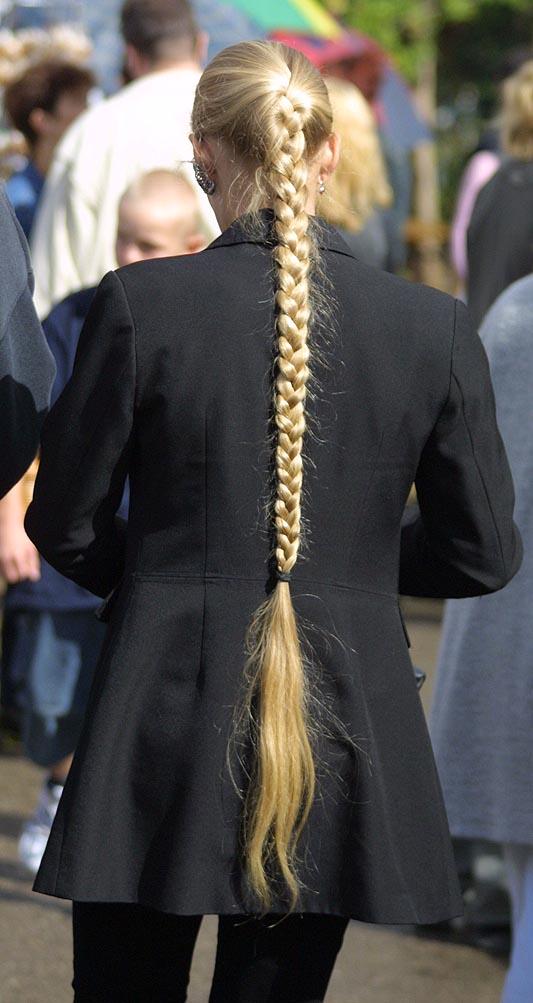 Long blonde braid