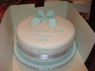Pale Baby Blue Booties Christening Cake | by platypus1974
