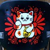 lucky cat art on high chair