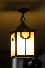 lamp, light fixture, yellow, light, ceiling, darkness, lantern, lighting,