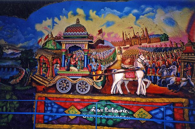 Indian Epic Mural Painting Batu Cave Wall Art Near Kuala