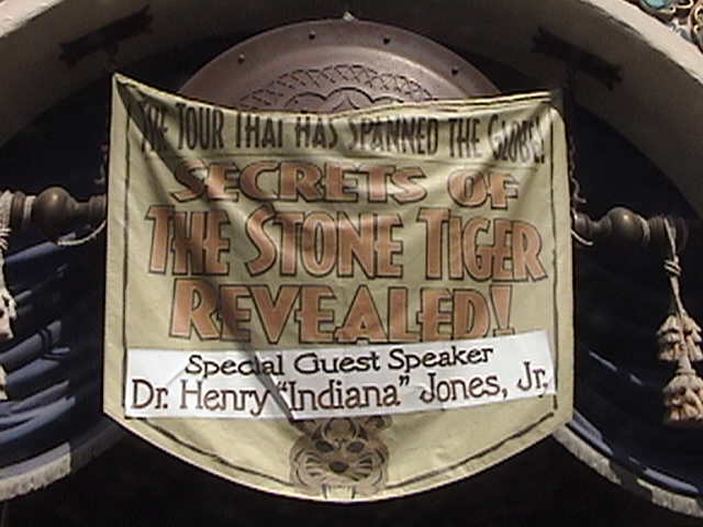 Indiana Jones™ and the Secret of the Stone Tiger Revealed!, Banner over entrance of Aladdin's Oasis, Adventureland, Disneyland®, Anaheim, California, 2008.05.26 15:49