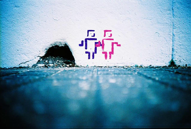 a hole and 2 little stencil men by lomokev