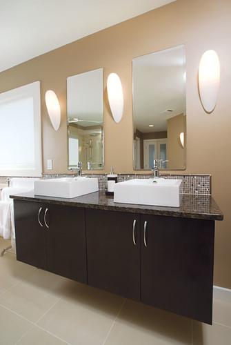 Modern Bathroom Two Sinks Dark Brown Wood Cabinets