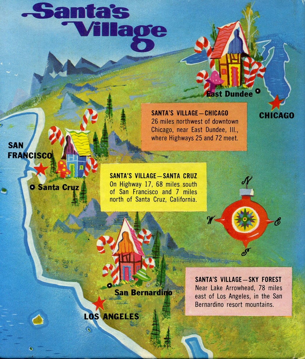 Santa's Village map of locations - 1958