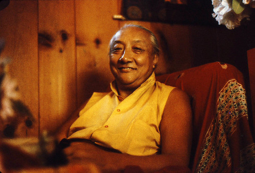 HH Dilgo Khyentse Rinpoche smiling at Sakya Ward St Center Seattle Washington USA 1976 by Wonderlane